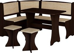 Breakfast Kitchen Nook Table Set, L-Shaped Storage Bench with 2 Stools, Vange Color