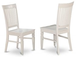 East West Furniture WEC-WHI-W Wood Seat Dining Chair Set with Slatted Back, Linen White Finish,  ...