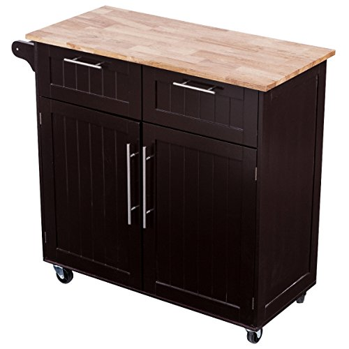 Giantex Rolling Kitchen Cart On Wheels Cabinet Storage