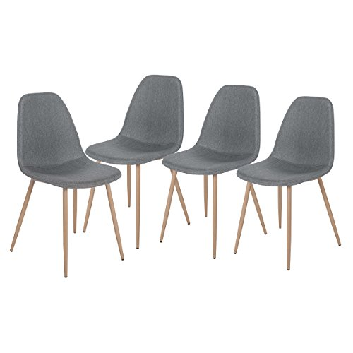 Merax Eames Style Fabric Dining Side Chairs With Metal