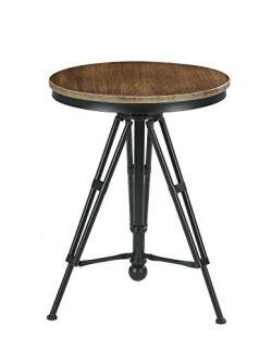VILAVITA 30″ to 34″ Adjustable Height Swivel Round Wood Bar Bistro Table, Wooden Top ...