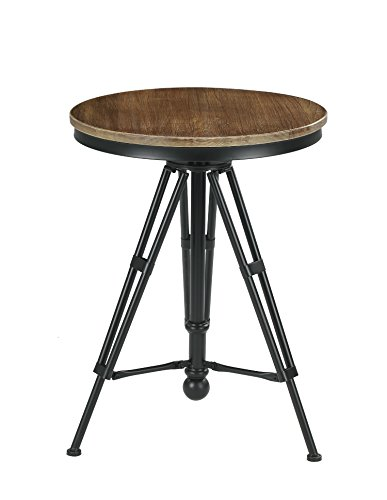 Vilavita 30 Quot To 34 Quot Adjustable Height Swivel Round Wood