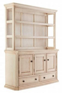 Ashley D6936061 Demarios Dining Room Buffet with Hutch Oak Veneers Heavy Mouldings and Shaped Fr ...
