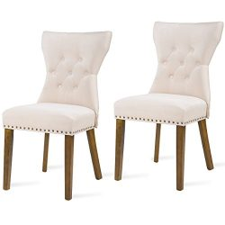 Harper Bright Design Dining Chair Tufted Upholstered Aceent Chair with Solid Wood Legs, Set of 2 ...