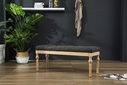 Roundhill Furniture CB161CC Habit Solid Wood Button Tufted Dining Bench, Grey