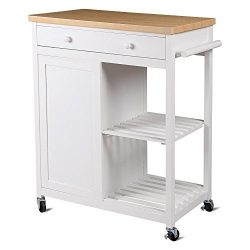 Yaheetech Kitchen Island Hollow Cart Wood Kitchen Trolley Cart Storage Drawers Dining Portable Stand