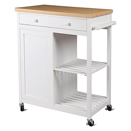 Yaheetech Kitchen Island Hollow Cart Wood Kitchen Trolley Cart Storage Drawers Dining Portable