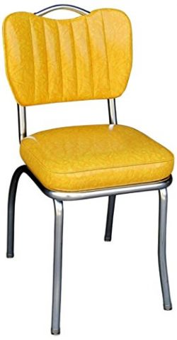 Richardson Seating 4260CIY Handle Back Retro Kitchen Chair in Single Tone Channel Back with 2 ...