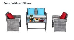 Do4U Outdoor Patio Furniture Set 4 Pcs PE Rattan Wicker Garden Sofa and Chairs Set with Beige Cu ...