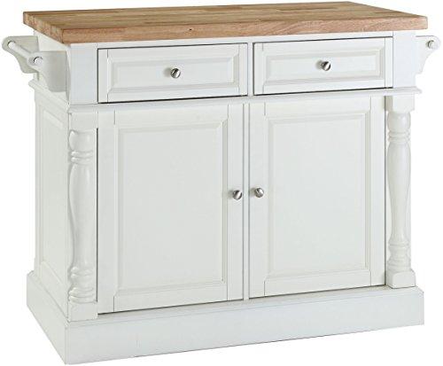 Crosley Furniture Kitchen Island with Butcher Block Top - White - DiningBee DiningBee