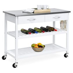 Best Choice Products Mobile Kitchen Island Utility Cart w Stainless Steel Countertop, Drawers &a ...