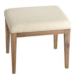 Cortesi Home CH-OT905462 Onel Vanity Bench Neutral Linen Fabric Ottoman, 20″, Beige
