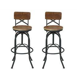 VILAVITA Set of 2 25.6″ to 29.6″ Adjustable Round Wooden Bar Stools with Backrest, R ...