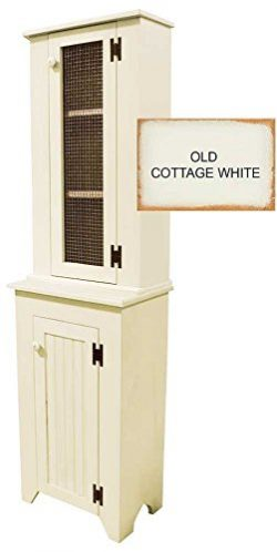 Jelly Cupboard and Tall Hutch Set (Old Cottage White)