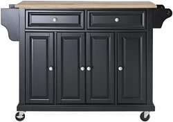 Crosley Furniture Rolling Kitchen Island with Natural Wood Top – Black