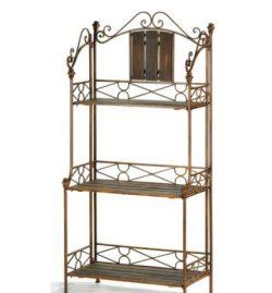 SKB Family Rustic Baker`s Rack Shelf Accent rustic shelving attractive decorative decor Wood metal