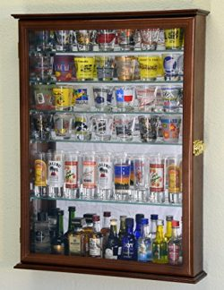 Large Mirror Backed and 7 Glass Shelves Shot Glasses Display Case Holder Cabinet , Cherry