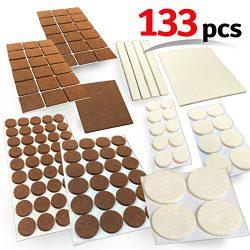 Mighty X Combo Felt Furniture Premium Pad Protectors w/ Adhesive – 133 Pcs, Under Furnitur ...