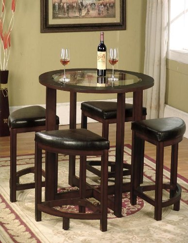 Roundhill Furniture Cylina Solid Wood Glass Top Round