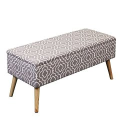 Otto & Ben 37-in EASY LIFT TOP Upholstered Ottoman Storage Bench – Moroccan Grey feat. cushi ...
