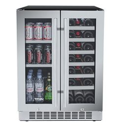 Titan 24 Inch Built-In French Door Wine and Beverage Refrigerator