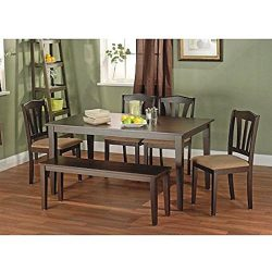 Metropolitan Brown/Espresso 6-Piece Dining Set with Table, Bench and 4 Chairs for Dining Room, K ...