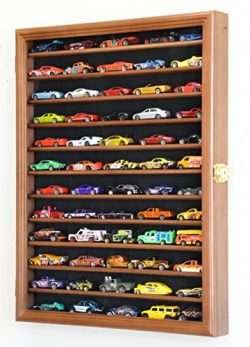Hot Wheels Matchbox 1/64 scale Diecast Model Display Case Cabinet Wall Rack w/UV Protection -Walnut
