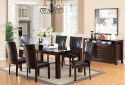 Furniture of America Renolds 7-Piece Dining Table Set with 10mm Black Tempered Glass Top, Dark C ...