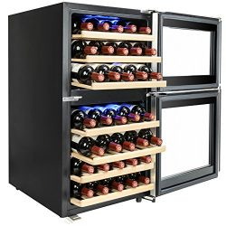 AKDY 45 Bottles Dual Zone Adjustable Touch Control Panel Freestanding Electric Compressor Wine C ...