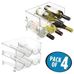 mDesign Stackable Wine Bottle Storage Rack for Kitchen Countertops, Cabinet – Holds 12 Bot ...