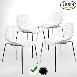 Modern Dining Chairs (Set of 4) by UrbanMod, White Chairs, KID-FRIENDLY Birch Chairs, Stackable  ...
