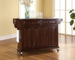 Crosley Furniture Rolling Kitchen Island with Stainless Steel Top – Vintage Mahogany