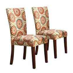Kinfine Parsons Upholstered Accent Dining Chair, Set of 2, Orange Suzani