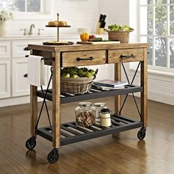 Crosley Furniture Roots Rack Industrial Rolling Kitchen Cart – Natural