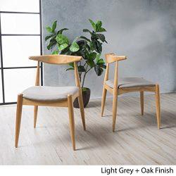 Sandra Light Grey Fabric with Oak Finish Mid Century Modern Dining Chairs (Set of 2)