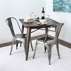 Belleze Stackable Chic Dining Bistro Industrial Cafe Side Chairs, (Set of 4), Gunmetal