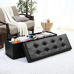 Ellington Home Foldable Tufted Faux Leather Large Storage Ottoman Bench Foot Rest Stool/Seat  ...