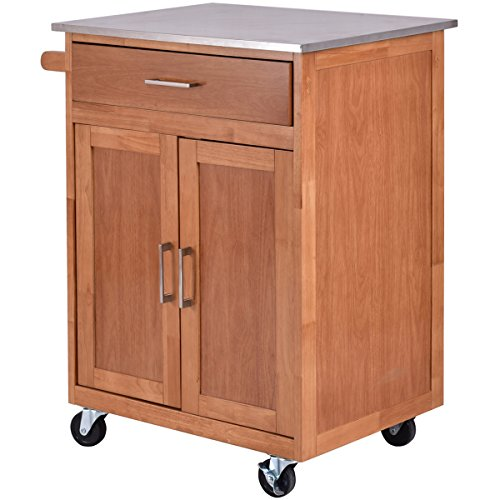 Giantex Wood Kitchen Trolley Cart Stainless Steel Top
