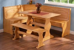 Linon Chelsea Nook Dining Table and Bench Set in Natural
