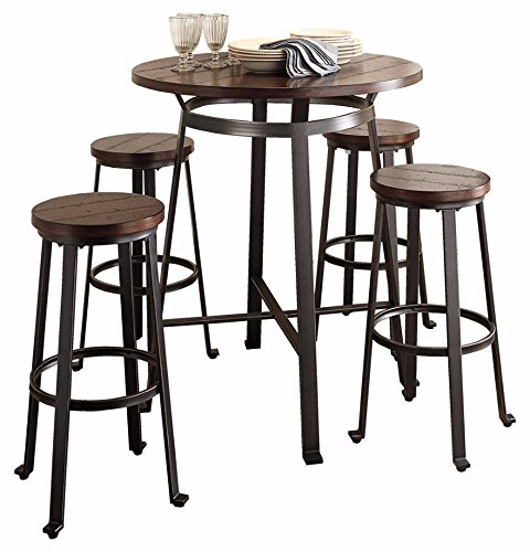 Saddle Brown Round Table And 4 Kitchen Chairs 5 Piece: Ashley Furniture Signature Design