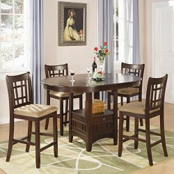 Coaster Home Furnishings Lavo 5 Piece Counter Height Dining Set with Table with Extension Leaf a ...