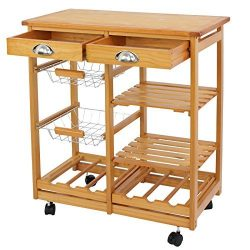 SUPER DEAL Rolling Kitchen Storage Cart Wood Dining Trolley w/ 2 Drawers and Shelves Natural Kit ...