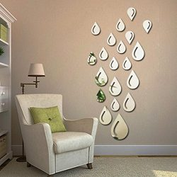 Coohole Water Drop Raindrop Removable DIY Acrylic 3D Mirror Wall Decal Sticker for Home, Silver
