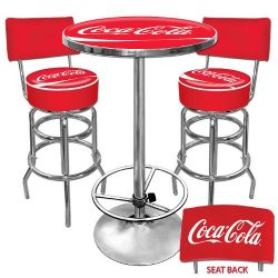 Coca-Cola Ultimate Gameroom Combo – 2 Bar Stools with Back & Pub Table