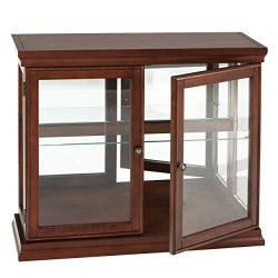 Southern Enterprises Double Door Curio with Mirrored Back Wall, Classic Mahogany Finish