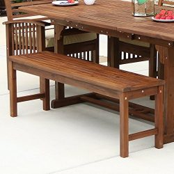 WE Furniture Solid Acacia Wood Patio Bench