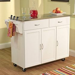 Berkley Modern Large Kitchen Island Storage Cart with Stainless Steel Countertop Wood Cabinet, W ...
