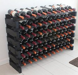 Stackable Modular Wine Rack Stackable Storage Stand Display Shelves, Wobble-Free, Pine wood, WN8 ...