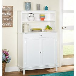 Simple Living Farmhouse Buffet with Hutch, White Finish