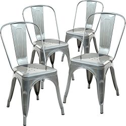 Poly and Bark Trattoria Side Chair in Polished Gunmetal (Set of 4)